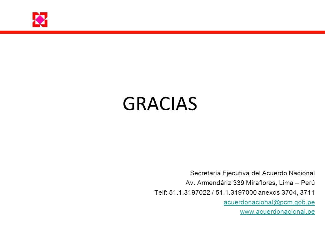 Secretaría Ejecutiva del Acuerdo Nacional Av. Armendáriz 339 Miraflores, Lima – Perú Telf: 51.1.3197022 / 51.1.3197000 anexos 3704, 3711 acuerdonacion