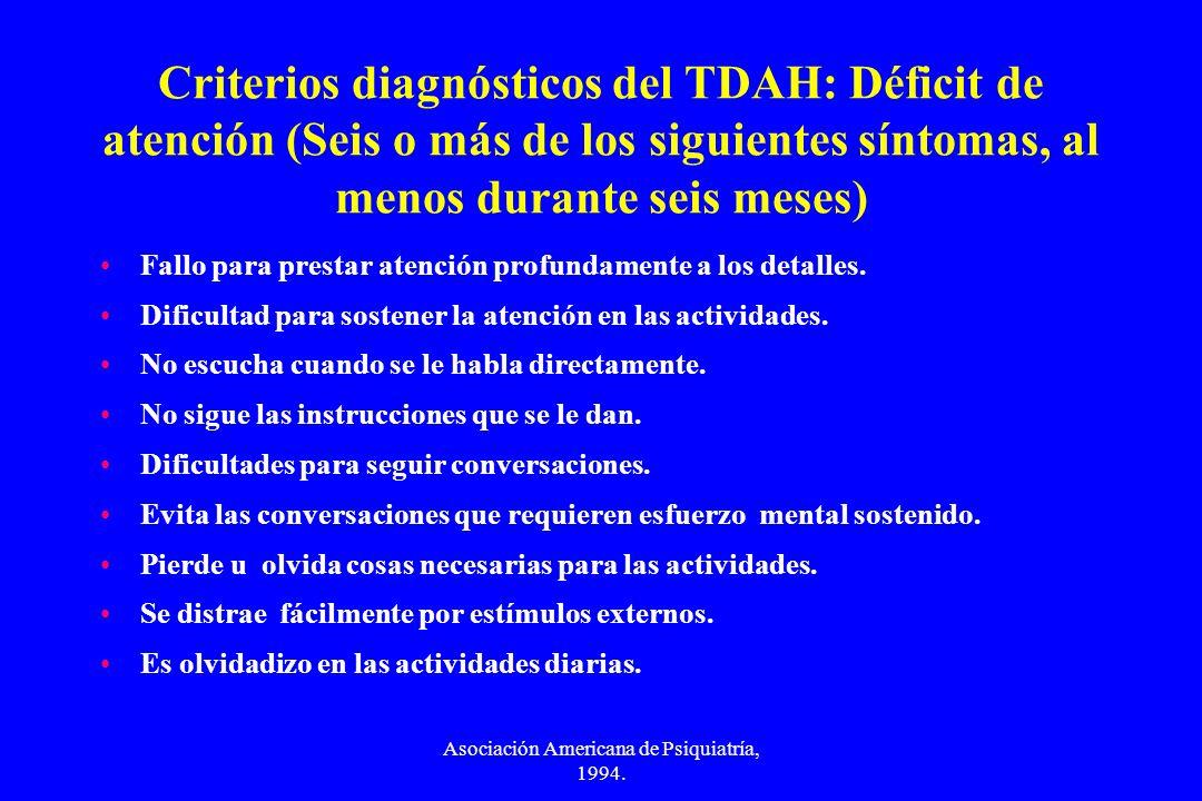 Asociación Americana de Psiquiatría, 1994. Criterios diagnósticos del TDAH: Déficit de atención (Seis o más de los siguientes síntomas, al menos duran