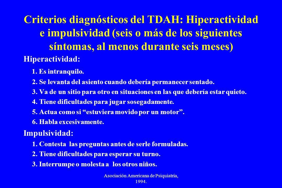 Asociación Americana de Psiquiatría, 1994. Criterios diagnósticos del TDAH: Hiperactividad e impulsividad (seis o más de los siguientes síntomas, al m