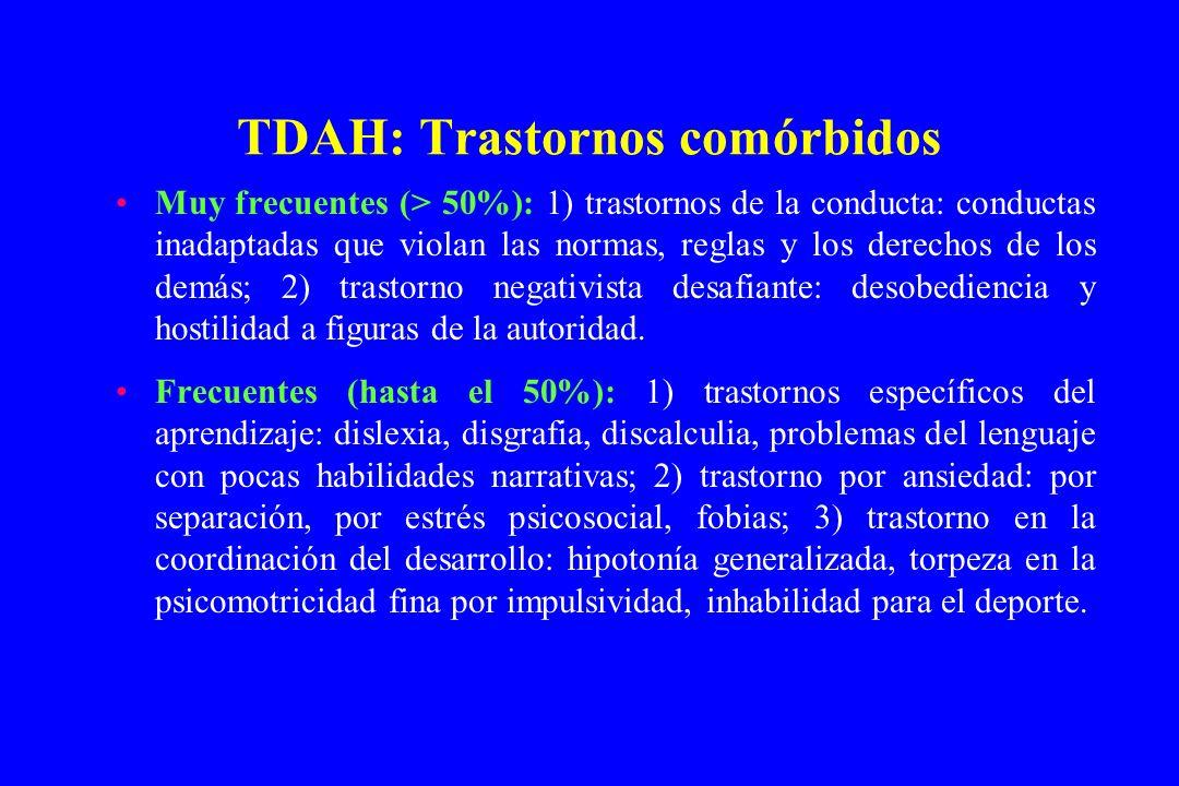 TDAH: Trastornos comórbidos Muy frecuentes (> 50%): 1) trastornos de la conducta: conductas inadaptadas que violan las normas, reglas y los derechos d