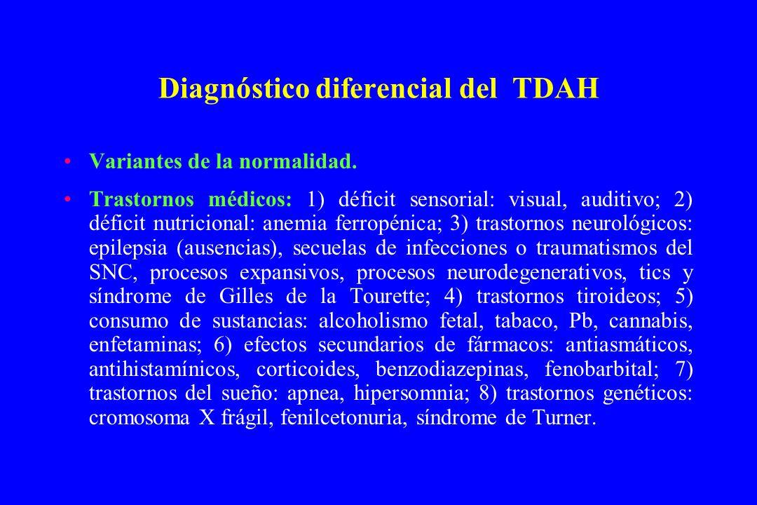 Diagnóstico diferencial del TDAH Variantes de la normalidad. Trastornos médicos: 1) déficit sensorial: visual, auditivo; 2) déficit nutricional: anemi