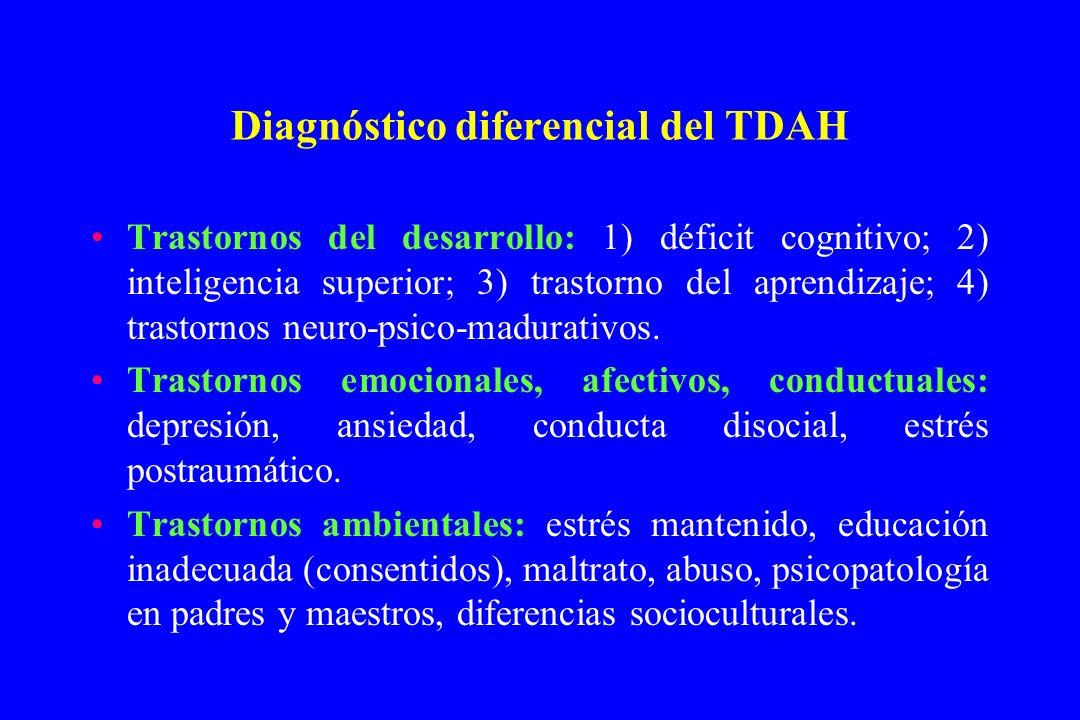 Diagnóstico diferencial del TDAH Trastornos del desarrollo: 1) déficit cognitivo; 2) inteligencia superior; 3) trastorno del aprendizaje; 4) trastorno