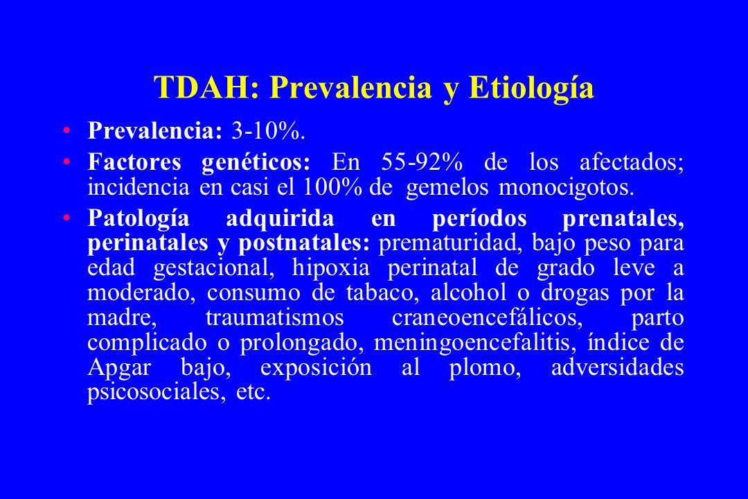 TDAH: Prevalencia y Etiología Prevalencia: 3-10%. Factores genéticos: En 55-92% de los afectados; incidencia en casi el 100% de gemelos monocigotos. P