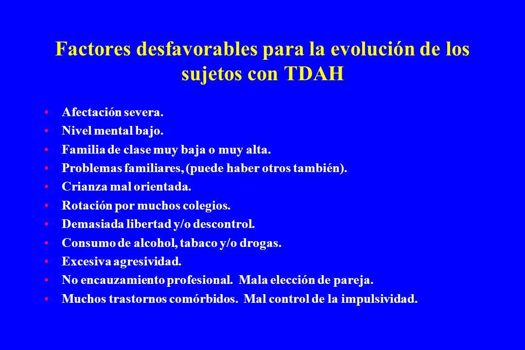 Factores desfavorables para la evolución de los sujetos con TDAH Afectación severa. Nivel mental bajo. Familia de clase muy baja o muy alta. Problemas