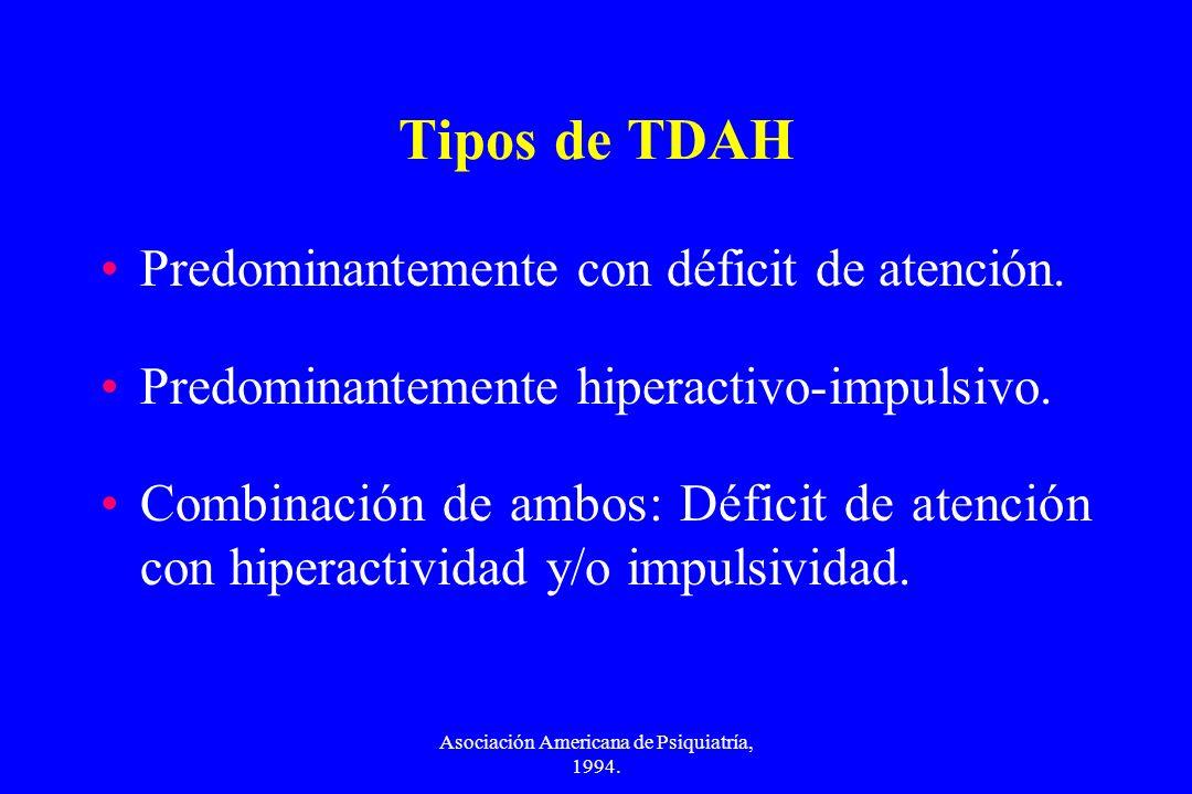 Asociación Americana de Psiquiatría, 1994. Tipos de TDAH Predominantemente con déficit de atención. Predominantemente hiperactivo-impulsivo. Combinaci
