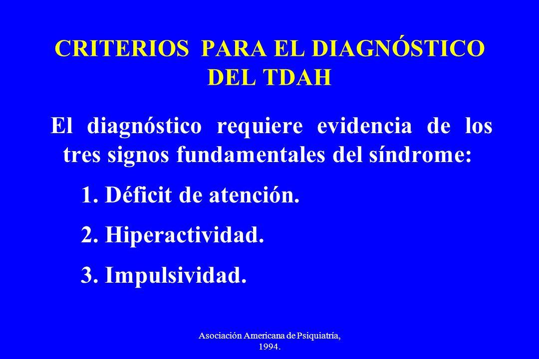 Asociación Americana de Psiquiatría, 1994. CRITERIOS PARA EL DIAGNÓSTICO DEL TDAH El diagnóstico requiere evidencia de los tres signos fundamentales d