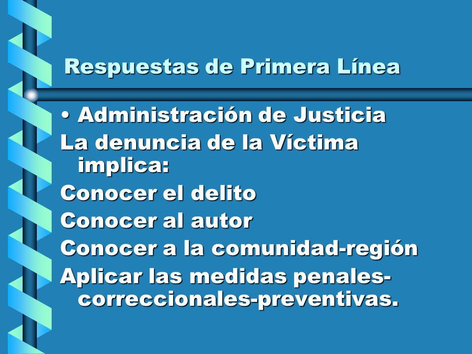 Respuestas de Primera Línea Administración de JusticiaAdministración de Justicia La denuncia de la Víctima implica: Conocer el delito Conocer al autor Conocer a la comunidad-región Aplicar las medidas penales- correccionales-preventivas.