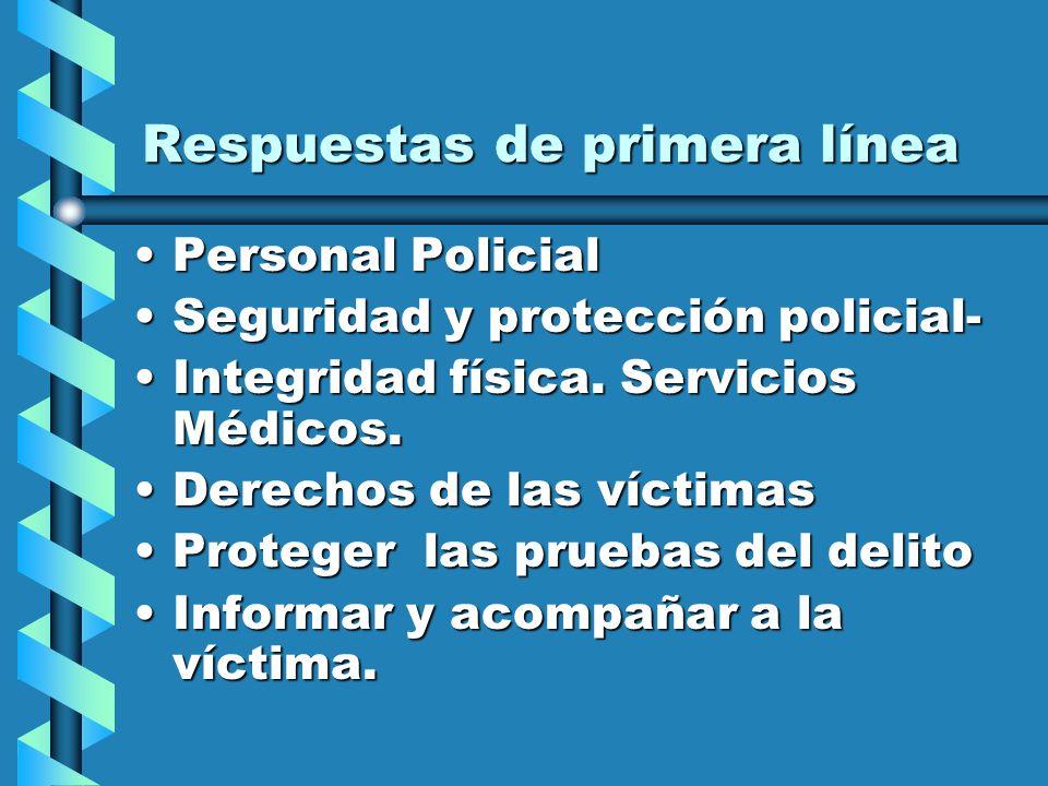 Respuestas de primera línea Personal PolicialPersonal Policial Seguridad y protección policial-Seguridad y protección policial- Integridad física.