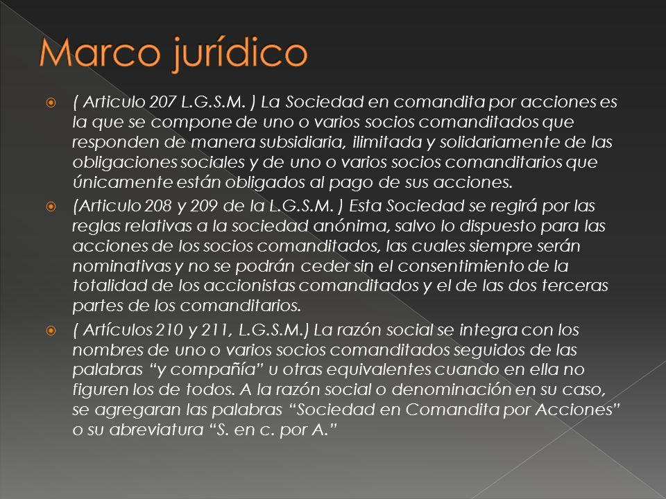 ( Articulo 207 L.G.S.M. ) La Sociedad en comandita por acciones es la que se compone de uno o varios socios comanditados que responden de manera subsi
