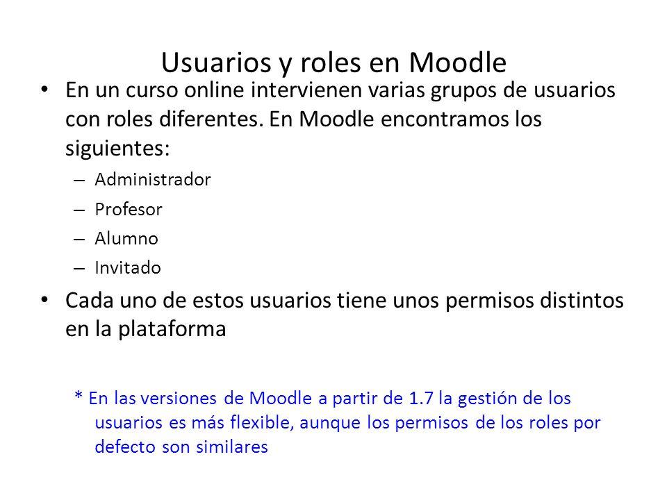 Usuarios y roles en Moodle En un curso online intervienen varias grupos de usuarios con roles diferentes. En Moodle encontramos los siguientes: – Admi