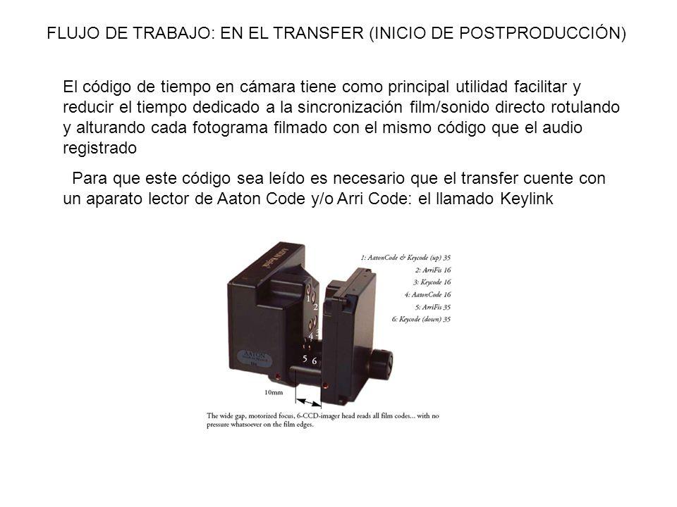 FLUJO DE TRABAJO: EN EL TRANSFER (INICIO DE POSTPRODUCCIÓN) El código de tiempo en cámara tiene como principal utilidad facilitar y reducir el tiempo
