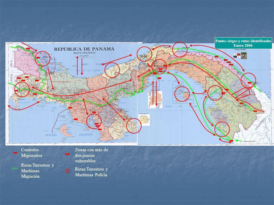 Controles Migratorios Rutas Terrestres y Marítimas Migración Rutas Terrestres y Marítimas Policía Zonas con más de dos puntos vulnerables Puntos ciegos y rutas identificadas Enero 2006