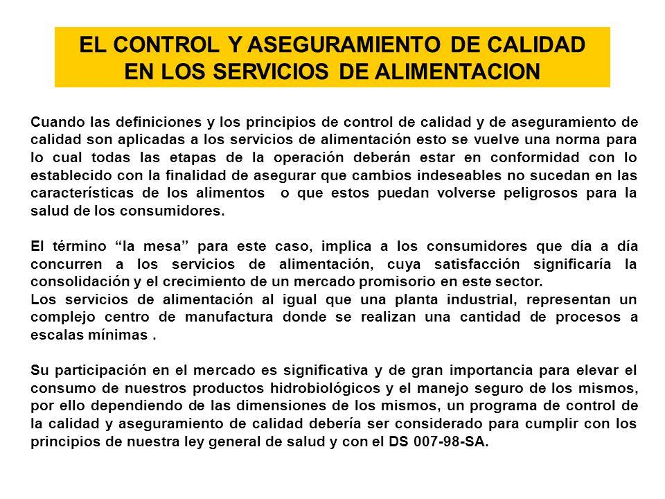 EL CONTROL Y ASEGURAMIENTO DE CALIDAD EN LOS SERVICIOS DE ALIMENTACION Cuando las definiciones y los principios de control de calidad y de aseguramien