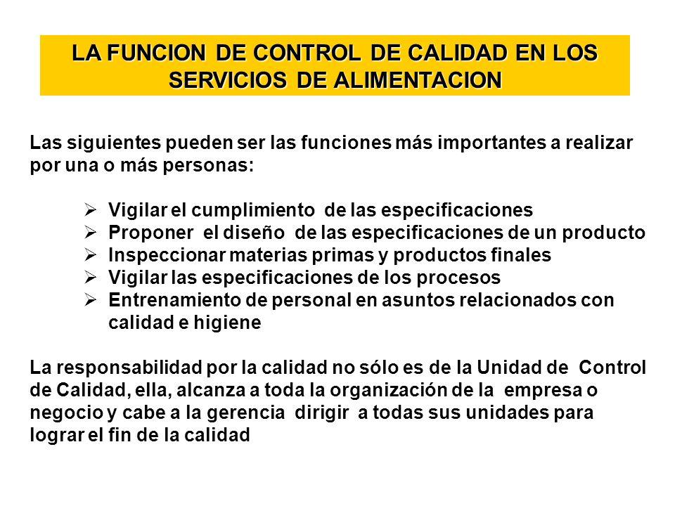 LA FUNCION DE CONTROL DE CALIDAD EN LOS SERVICIOS DE ALIMENTACION Las siguientes pueden ser las funciones más importantes a realizar por una o más per