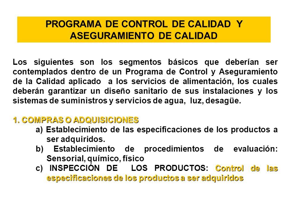 PROGRAMA DE CONTROL DE CALIDAD Y ASEGURAMIENTO DE CALIDAD Los siguientes son los segmentos básicos que deberían ser contemplados dentro de un Programa