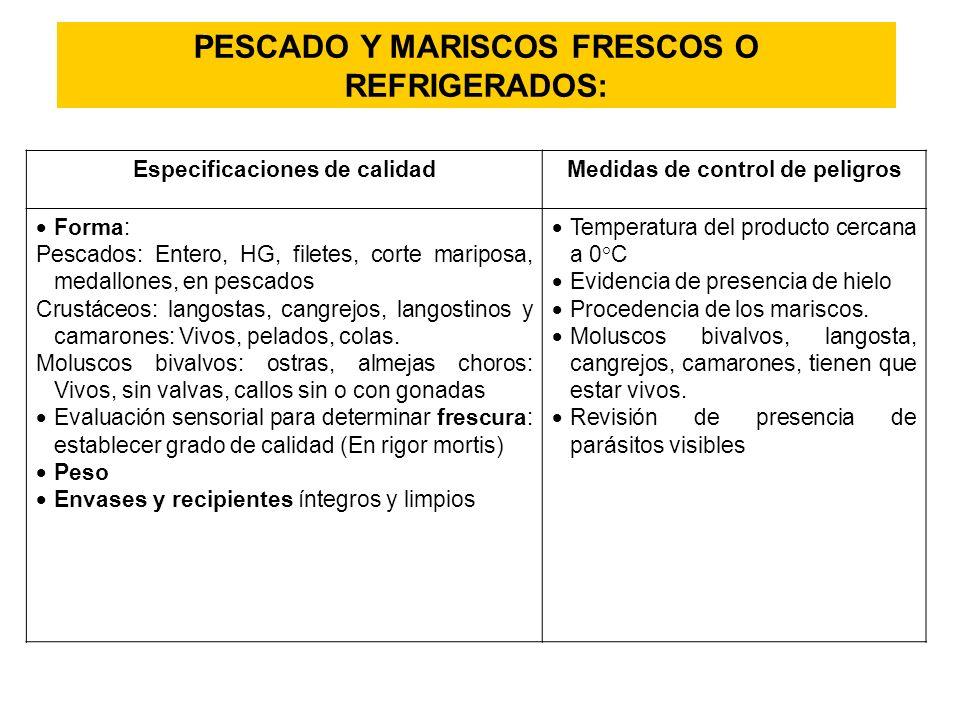 PESCADO Y MARISCOS FRESCOS O REFRIGERADOS: Especificaciones de calidad Medidas de control de peligros Forma: Forma: Pescados: Entero, HG, filetes, cor