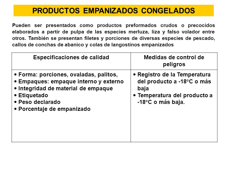 PRODUCTOS EMPANIZADOS CONGELADOS Pueden ser presentados como productos preformados crudos o precocidos elaborados a partir de pulpa de las especies me