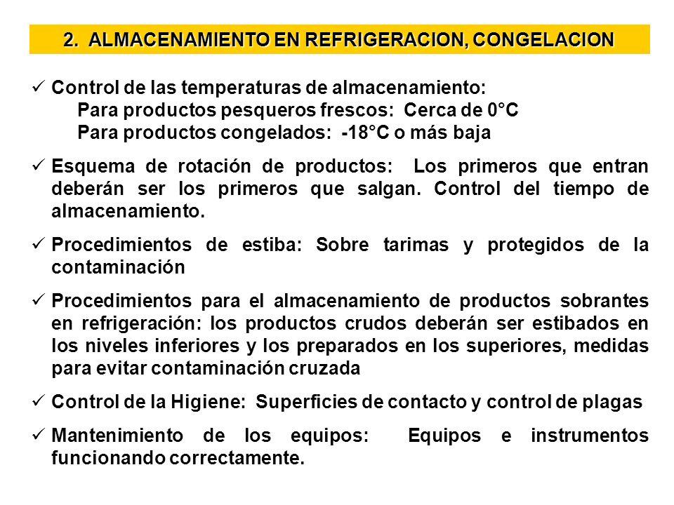 2. ALMACENAMIENTO EN REFRIGERACION, CONGELACION Control de las temperaturas de almacenamiento: Control de las temperaturas de almacenamiento: Para pro