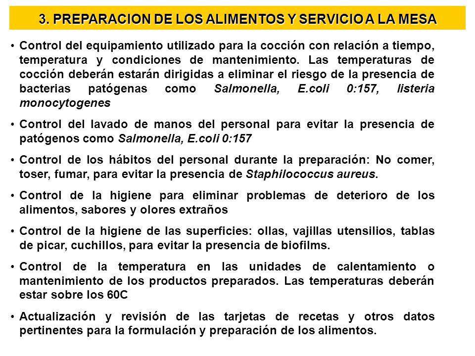3. PREPARACION DE LOS ALIMENTOS Y SERVICIO A LA MESA Control del equipamiento utilizado para la cocción con relación a tiempo, temperatura y condicion