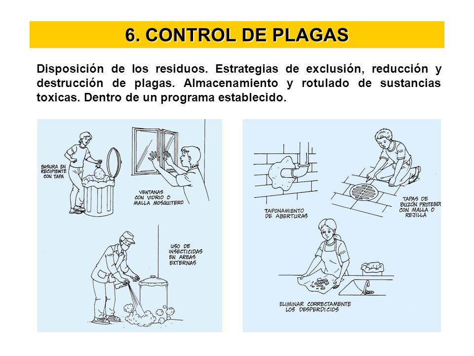 6. CONTROL DE PLAGAS Disposición de los residuos. Estrategias de exclusión, reducción y destrucción de plagas. Almacenamiento y rotulado de sustancias
