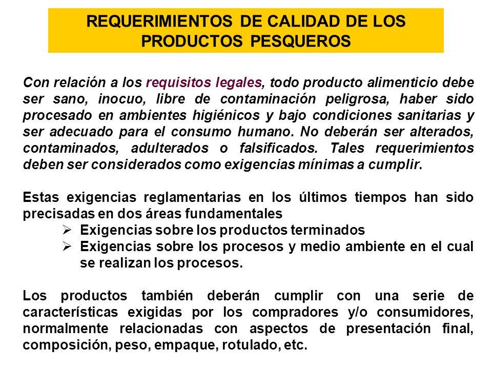 REQUERIMIENTOS DE CALIDAD DE LOS PRODUCTOS PESQUEROS Con relación a los requisitos legales, todo producto alimenticio debe ser sano, inocuo, libre de