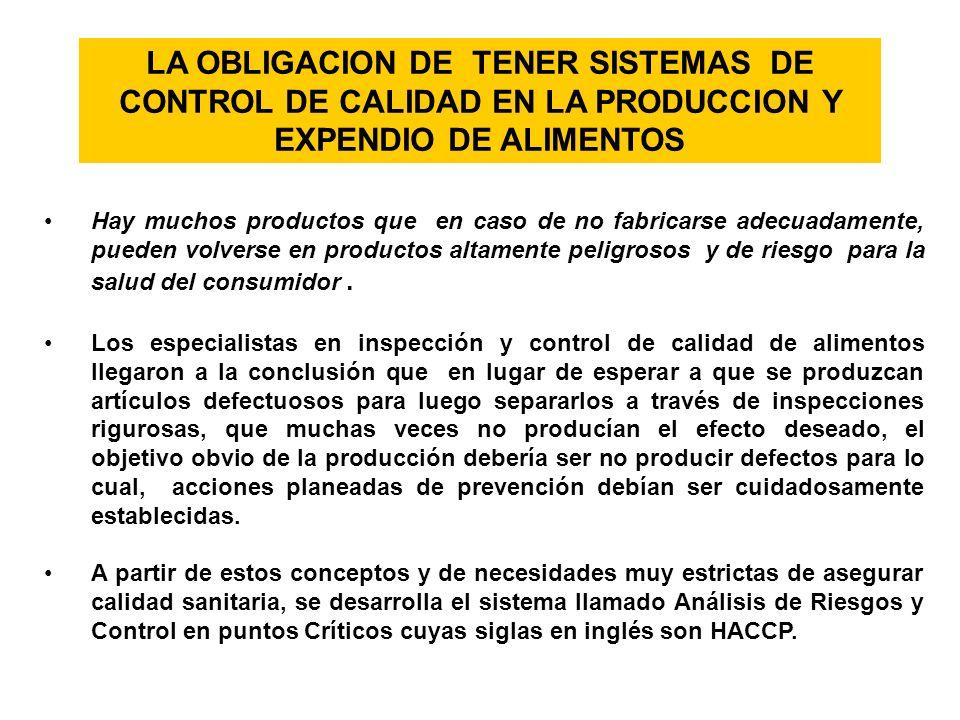 LA OBLIGACION DE TENER SISTEMAS DE CONTROL DE CALIDAD EN LA PRODUCCION Y EXPENDIO DE ALIMENTOS Hay muchos productos que en caso de no fabricarse adecu