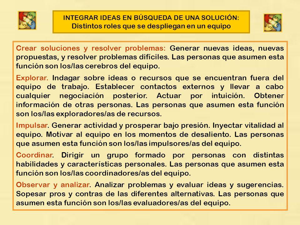 INTEGRAR IDEAS EN BÚSQUEDA DE UNA SOLUCIÓN: Distintos roles que se despliegan en un equipo Crear soluciones y resolver problemas: Generar nuevas ideas