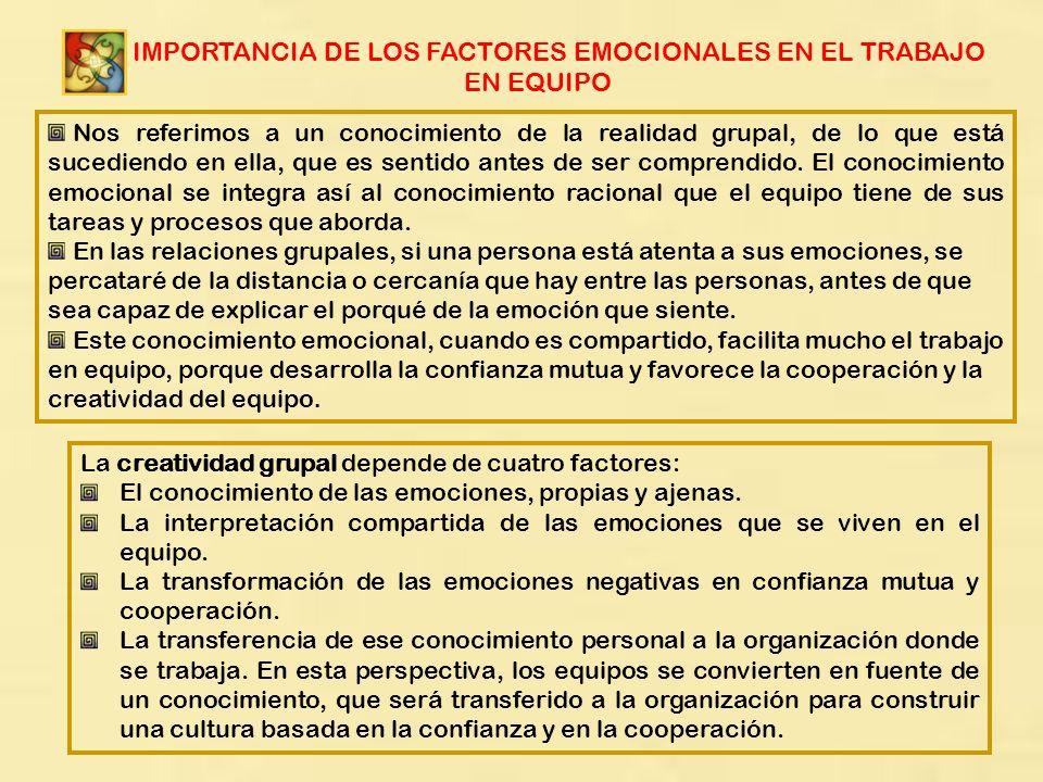 LA IMPORTANCIA DE LOS FACTORES EMOCIONALES EN EL TRABAJO EN EQUIPO Nos referimos a un conocimiento de la realidad grupal, de lo que está sucediendo en