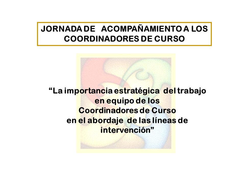 JORNADA DE ACOMPAÑAMIENTO A LOS COORDINADORES DE CURSO La importancia estratégica del trabajo en equipo de los Coordinadores de Curso en el abordaje d