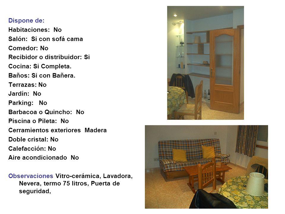 Dispone de: Habitaciones: No Salón: Si con sofá cama Comedor: No Recibidor o distribuidor: Si Cocina: Si Completa.