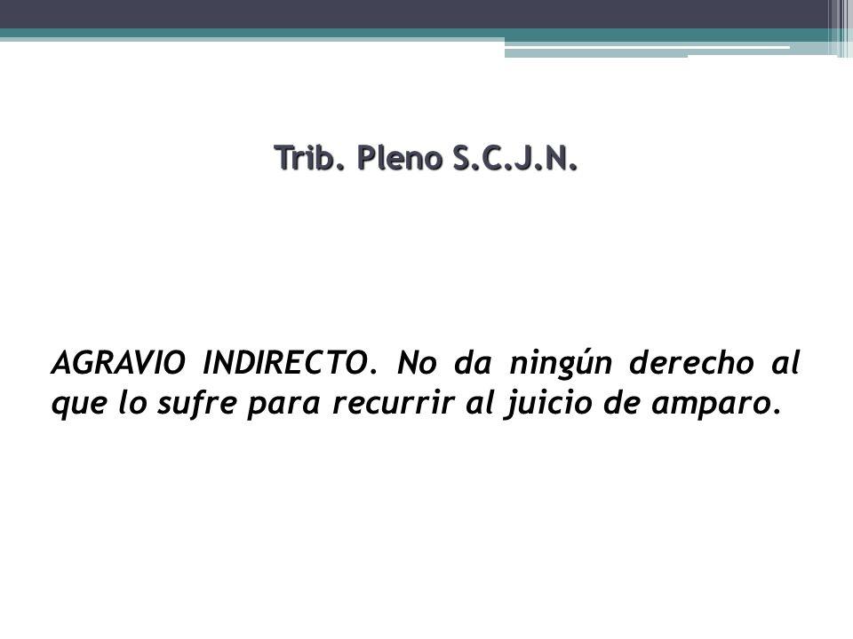 Trib. Pleno S.C.J.N. AGRAVIO INDIRECTO. No da ningún derecho al que lo sufre para recurrir al juicio de amparo.