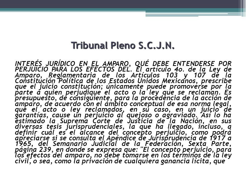 Tribunal Pleno S.C.J.N. INTERÉS JURÍDICO EN EL AMPARO, QUÉ DEBE ENTENDERSE POR PERJUICIO PARA LOS EFECTOS DEL. El artículo 4o. de la Ley de Amparo, Re