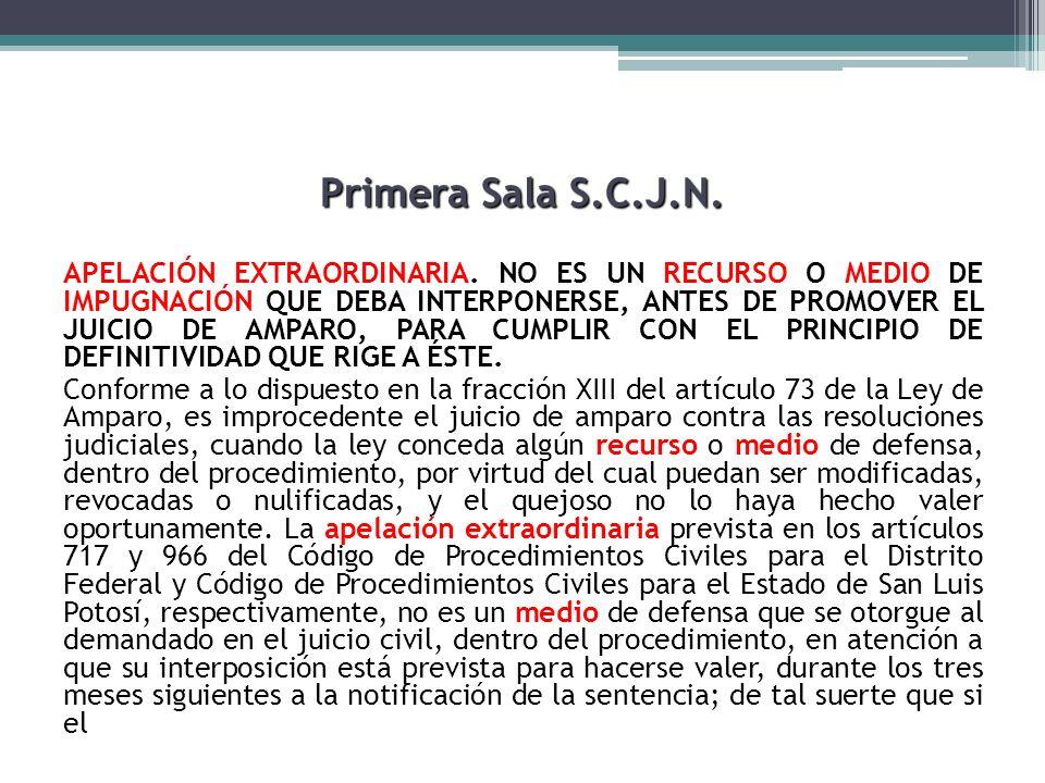 Primera Sala S.C.J.N. APELACIÓN EXTRAORDINARIA. NO ES UN RECURSO O MEDIO DE IMPUGNACIÓN QUE DEBA INTERPONERSE, ANTES DE PROMOVER EL JUICIO DE AMPARO,