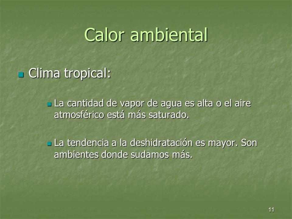 11 Calor ambiental Clima tropical: Clima tropical: La cantidad de vapor de agua es alta o el aire atmosférico está más saturado. La cantidad de vapor