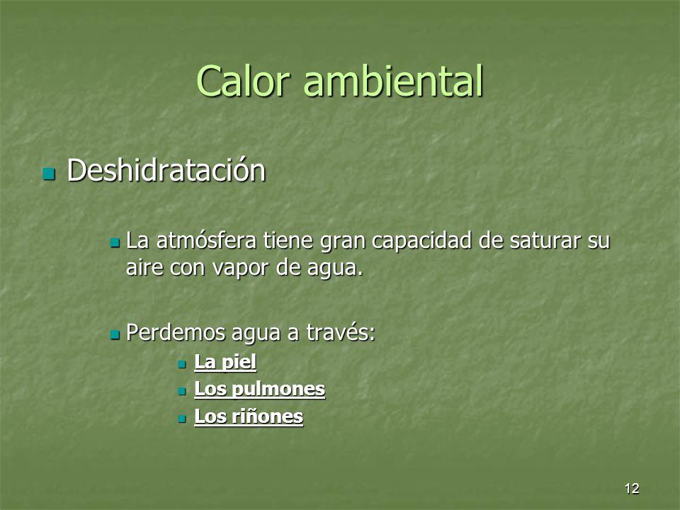 12 Calor ambiental Deshidratación Deshidratación La atmósfera tiene gran capacidad de saturar su aire con vapor de agua. La atmósfera tiene gran capac