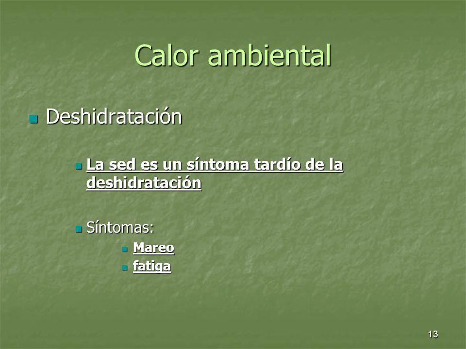 13 Calor ambiental Deshidratación Deshidratación La sed es un síntoma tardío de la deshidratación La sed es un síntoma tardío de la deshidratación Sín