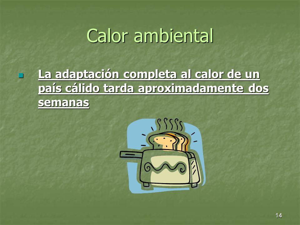 14 Calor ambiental La adaptación completa al calor de un país cálido tarda aproximadamente dos semanas La adaptación completa al calor de un país cáli