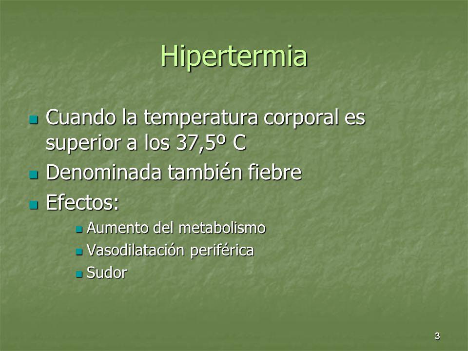 4 Hipertermia En estado de fiebre o cuando la temperatura interna es superior a los 38ºC nuestro organismo se ve afectado: En estado de fiebre o cuando la temperatura interna es superior a los 38ºC nuestro organismo se ve afectado: Disminución del rendimiento mental Disminución del rendimiento mental Disminución del rendimiento físico Disminución del rendimiento físico