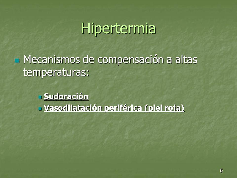 5 Hipertermia Mecanismos de compensación a altas temperaturas: Mecanismos de compensación a altas temperaturas: Sudoración Sudoración Vasodilatación p