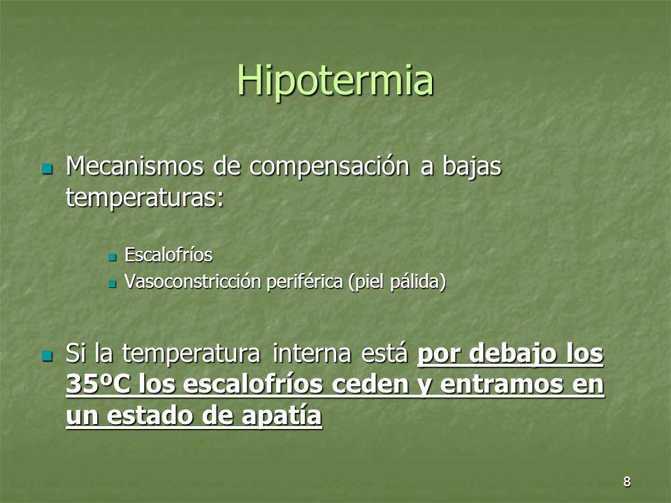 8 Hipotermia Mecanismos de compensación a bajas temperaturas: Mecanismos de compensación a bajas temperaturas: Escalofríos Escalofríos Vasoconstricció