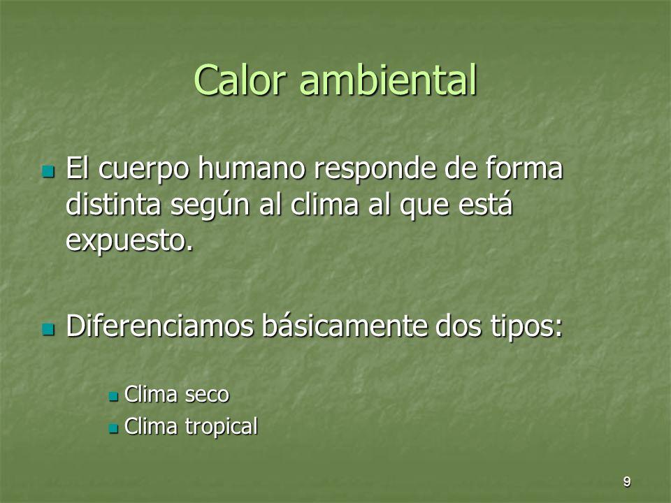 9 Calor ambiental El cuerpo humano responde de forma distinta según al clima al que está expuesto. El cuerpo humano responde de forma distinta según a