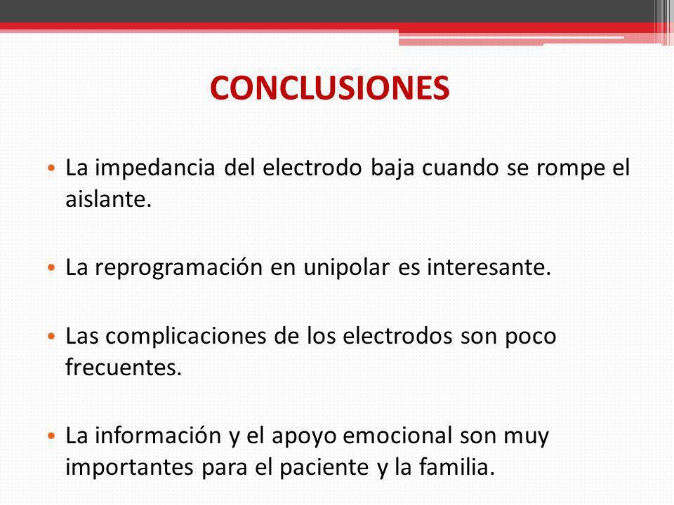 CONCLUSIONES La impedancia del electrodo baja cuando se rompe el aislante. La reprogramación en unipolar es interesante. Las complicaciones de los ele