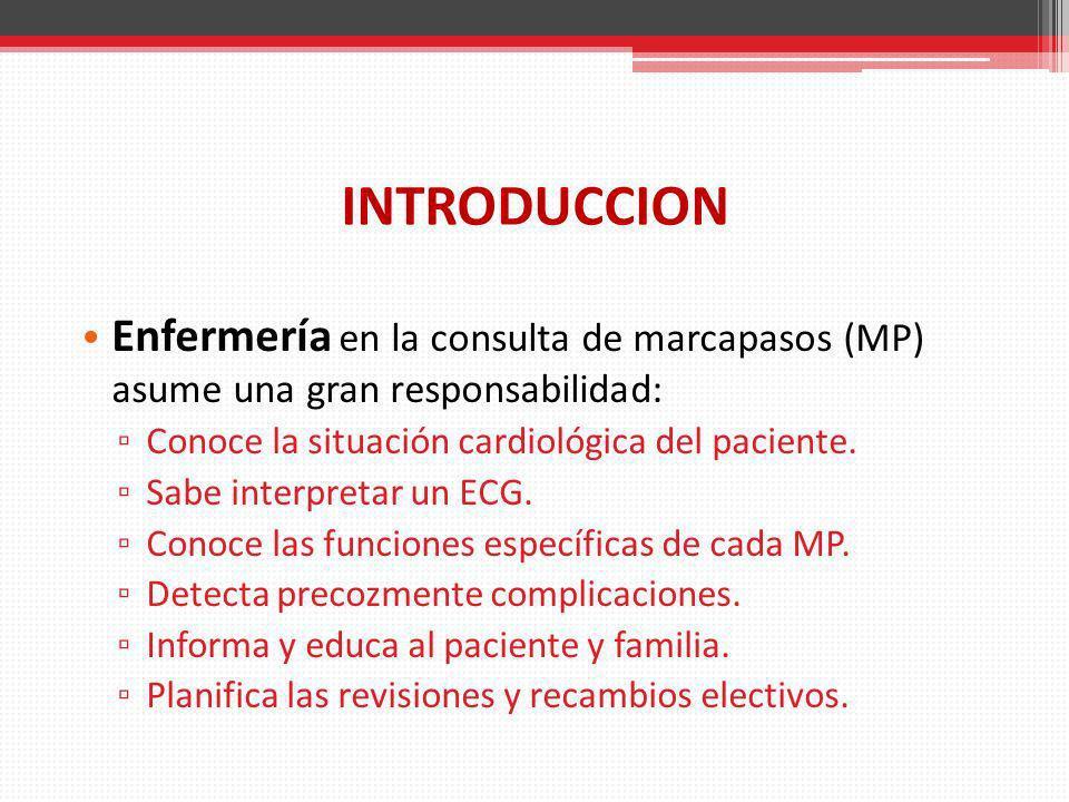 INTRODUCCION Enfermería en la consulta de marcapasos (MP) asume una gran responsabilidad: Conoce la situación cardiológica del paciente. Sabe interpre