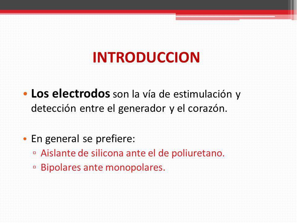 INTRODUCCION Los electrodos son la vía de estimulación y detección entre el generador y el corazón. En general se prefiere: Aislante de silicona ante