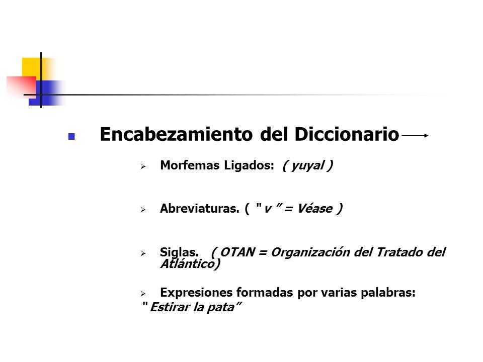 Encabezamiento del Diccionario Morfemas Ligados: ( yuyal ) Abreviaturas. ( v = Véase ) Siglas. ( OTAN = Organización del Tratado del Atlántico) Expres