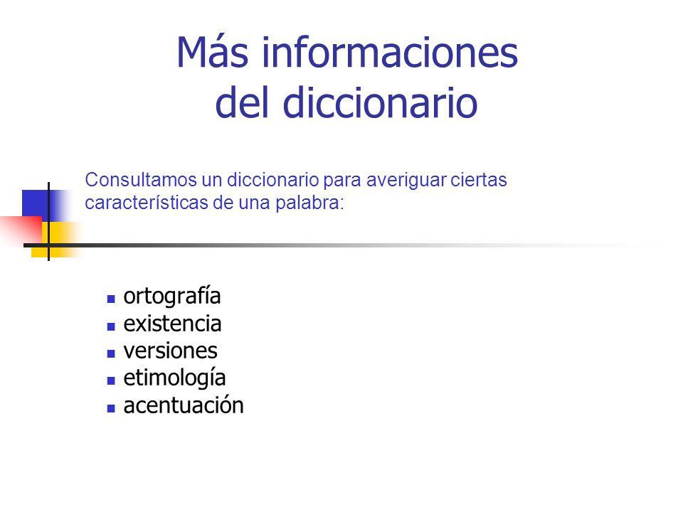 Más informaciones del diccionario ortografía existencia versiones etimología acentuación Consultamos un diccionario para averiguar ciertas característ