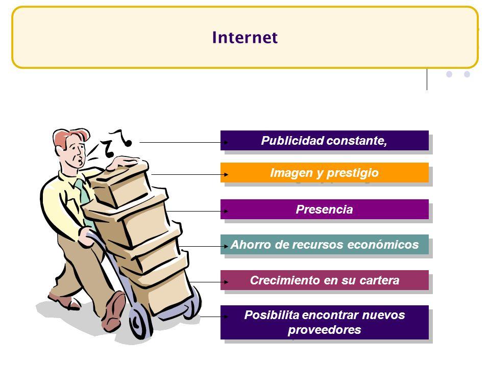 Internet Publicidad constante, Imagen y prestigio Presencia Posibilita encontrar nuevos proveedores Ahorro de recursos económicos Crecimiento en su ca