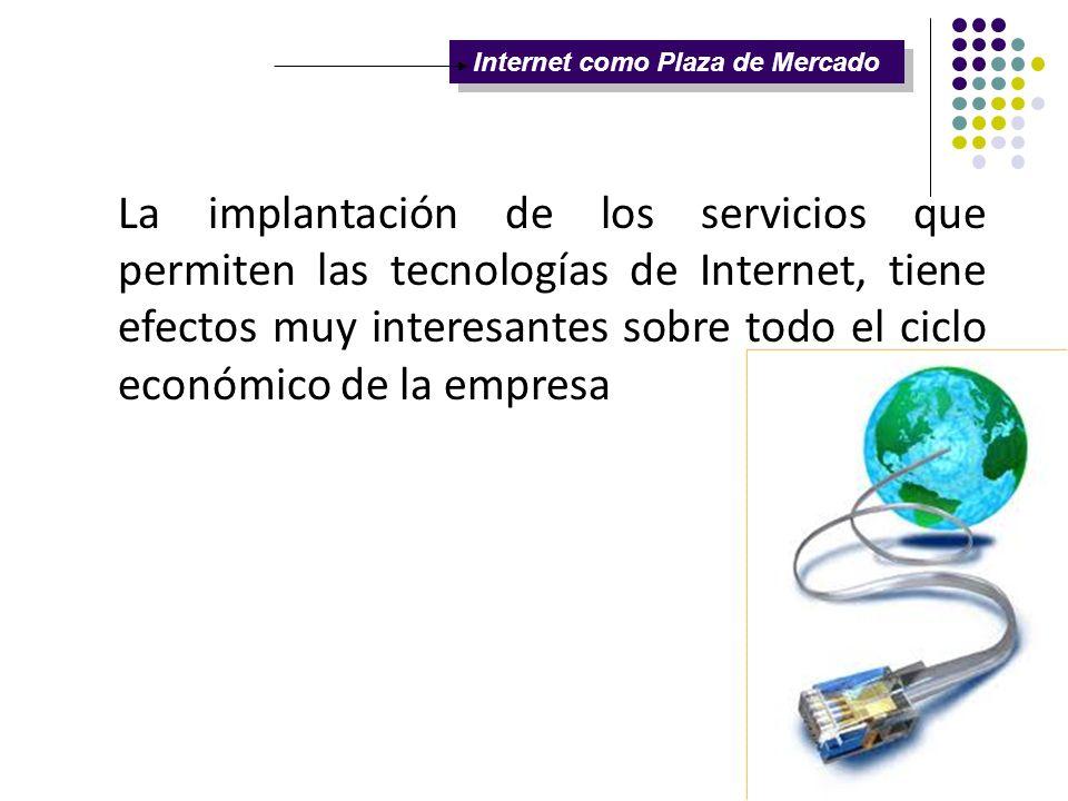 Internet como Plaza de Mercado La implantación de los servicios que permiten las tecnologías de Internet, tiene efectos muy interesantes sobre todo el