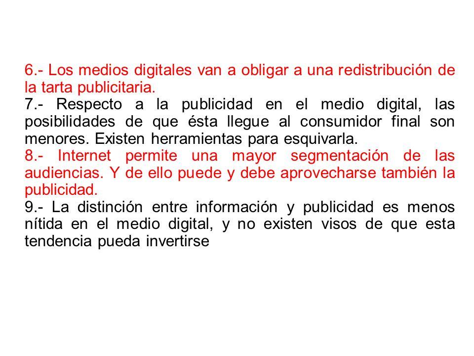6.- Los medios digitales van a obligar a una redistribución de la tarta publicitaria. 7.- Respecto a la publicidad en el medio digital, las posibilida