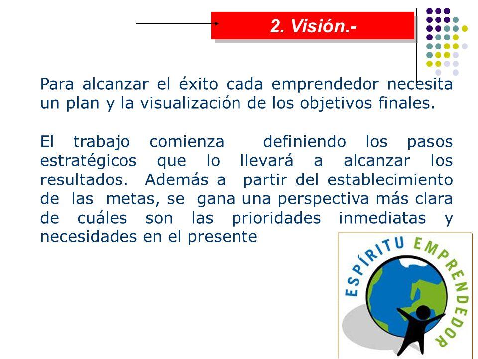2. Visión.- Para alcanzar el éxito cada emprendedor necesita un plan y la visualización de los objetivos finales. El trabajo comienza definiendo los p